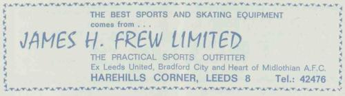 Ad for Jimmy Frew's sports shop